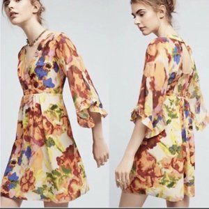 Anthropologie Maeve Deloria Floral Silk Dress